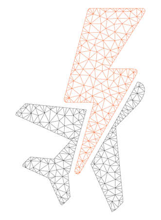 Mesh airplane shock polygonal 2d illustration. Abstract mesh lines and dots form triangular airplane shock. Wire frame 2D polygonal line network in vector format isolated on a white background. 向量圖像