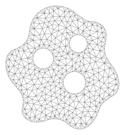 Mesh amoeba polygonal 2d illustration. Abstract mesh lines and dots form triangular amoeba. Wire frame 2D polygonal line network in vector format isolated on a white background.