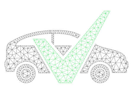 Mesh approved car polygonal icon illustration. Abstract mesh lines and dots form triangular approved car. Wire frame 2D polygonal line network in vector format isolated on a white background.