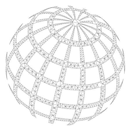 Mesh abstract sphere grid polygonal icon illustration. Abstract mesh lines and dots form triangular abstract sphere grid. Illustration