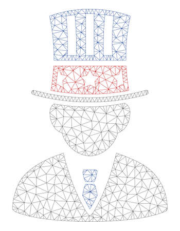 Mesh American capitalist polygonal icon illustration. Abstract mesh lines and dots form triangular American capitalist. Illustration