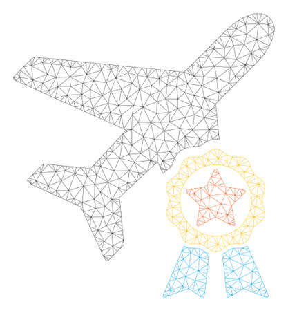 Mesh airplane certification polygonal 2d illustration. Abstract mesh lines and dots form triangular airplane certification.