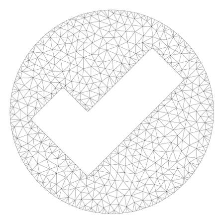 Mesh apply polygonal icon illustration. Abstract mesh lines and dots form triangular apply. Wire frame 2D polygonal line network in vector format isolated on a white background.