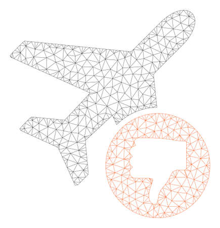 Mesh airplane fail polygonal 2d illustration. Abstract mesh lines and dots form triangular airplane fail. Wire frame 2D polygonal line network in vector format isolated on a white background.