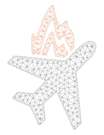 Mesh airplane fire polygonal 2d illustration. Abstract mesh lines and dots form triangular airplane fire. Wire frame 2D polygonal line network in vector format isolated on a white background.