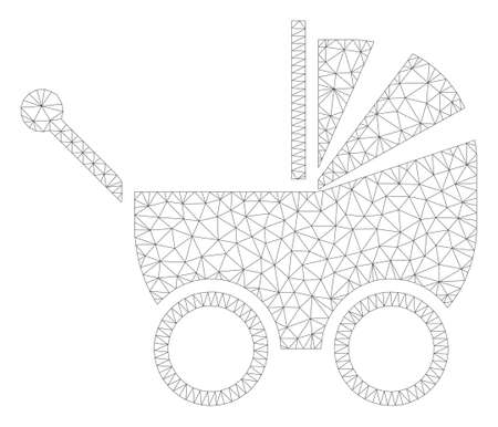 Mesh baby carriage polygonal 2d illustration. Abstract mesh lines and dots form triangular baby carriage. Wire frame 2D polygonal line network in vector format isolated on a white background. Illustration