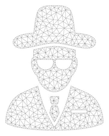 Mesh agent polygonal icon illustration. Abstract mesh lines and dots form triangular agent. Wire frame 2D polygonal line network in vector format isolated on a white background.