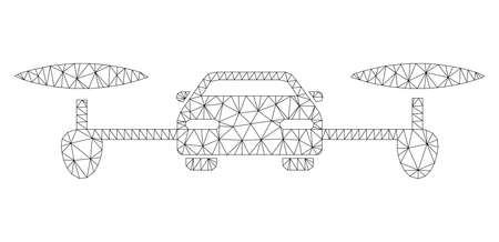 Mesh air car polygonal 2d illustration. Abstract mesh lines and dots form triangular air car. Wire frame 2D polygonal line network in vector format isolated on a white background. Фото со стока - 120749226