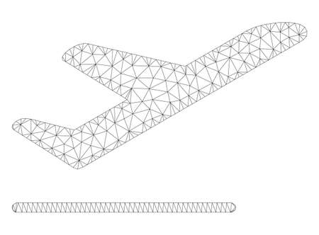Mesh airplane departure polygonal icon illustration. Abstract mesh lines and dots form triangular airplane departure.