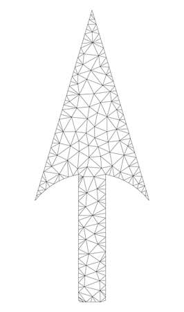 Mesh arrow axis y polygonal 2d illustration. Abstract mesh lines and dots form triangular arrow axis y. Wire frame 2D polygonal line network in vector format isolated on a white background.