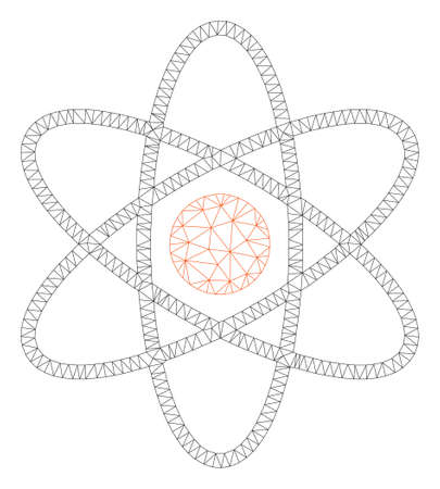 Mesh atom polygonal icon illustration. Abstract mesh lines and dots form triangular atom. Wire frame 2D polygonal line network in vector format isolated on a white background.