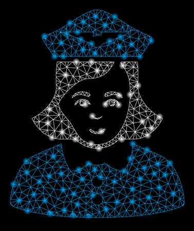 Bright mesh airline stewardess with glow effect. Shiny wire carcass triangular network in vector format on a black background. Abstract 2d mesh designed with triangular lines, spheric points,