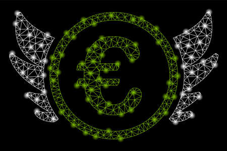 Bright mesh euro angel investment with glow effect. Shiny wire carcass polygonal mesh in vector format on a black background. Abstract 2d mesh designed with triangular lines, dots,