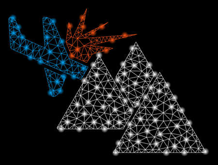 Bright mesh airplane mountain crash with glow effect. Shiny wire frame polygonal mesh in vector format on a black background. Abstract 2d mesh designed with polygonal grid, spheric points,