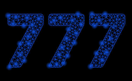 Bright mesh 777 digits text with glare effect. Shiny wire carcass polygonal mesh in vector format on a black background. Abstract 2d mesh designed with polygonal grid, points, glowing glare spots.