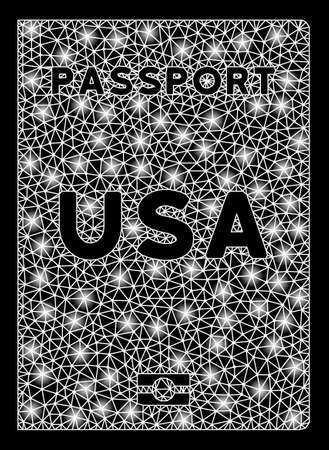 Bright mesh American passport with glare effect. Shiny wire frame polygonal mesh in vector format on a black background. Abstract 2d mesh designed with triangular lines, dots, glowing glare spots.