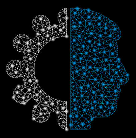 Bright mesh android head with glow effect. Shiny wire carcass triangular network in vector format on a black background. Abstract 2d mesh designed with triangular lines, round dots,