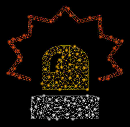 Bright mesh alarm with lightspot effect. Shiny wire carcass triangular mesh in vector format on a black background. Abstract 2d mesh designed with triangular lines, points, glossy light spots.