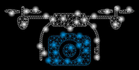 Bright mesh camera drone with glare effect. Abstract illuminated model of camera drone icon. Shiny wire carcass triangular mesh camera drone abstraction in vector format on a black background.