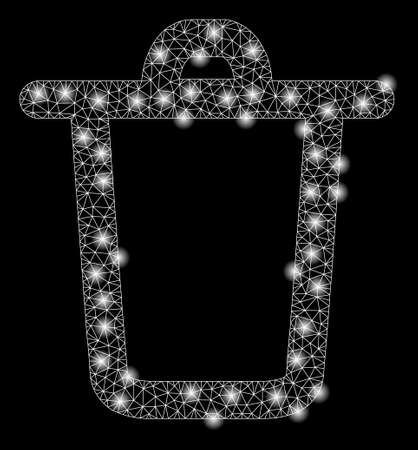 Bright mesh bucket with glare effect. Abstract illuminated model of bucket icon. Shiny wire carcass triangular mesh bucket abstraction in vector format on a black background.