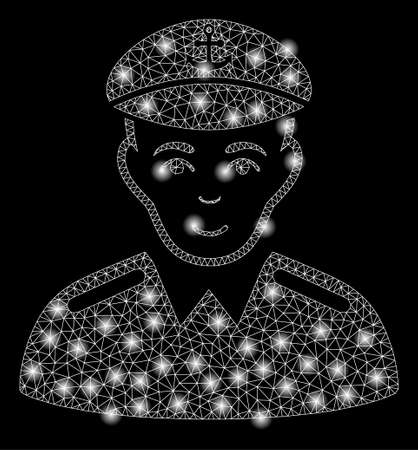 Bright mesh captain with glare effect. Abstract illuminated model of captain icon. Shiny wire carcass polygonal mesh captain abstraction in vector format on a black background.