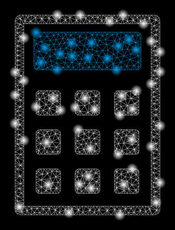 Bright mesh calculator with glow effect. Abstract illuminated model of calculator icon. Shiny wire frame triangular mesh calculator abstraction in vector format on a black background.