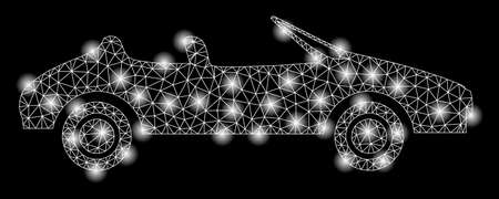 Bright mesh cabriolet with lightspot effect. Abstract illuminated model of cabriolet icon. Shiny wire carcass polygonal network cabriolet abstraction in vector format on a black background.