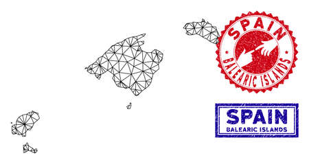 Mesh polygonal Balearic Islands map and grunge seal stamps. Abstract lines and spheric points form Balearic Islands map vector model. Round red stamp with connecting hands. Иллюстрация