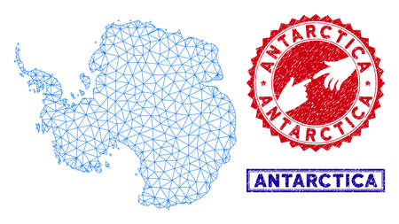 2D polygonal Antarctica map and grunge seal stamps. Abstract lines and circle dots form Antarctica map vector model. Round red stamp with connecting hands.