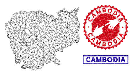 Wire frame polygonal Cambodia map and grunge seal stamps. Abstract lines and points form Cambodia map vector model. Round red stamp with connecting hands. Çizim