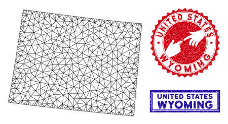 2D polygonal Wyoming State map and grunge seal stamps. Abstract lines and points form Wyoming State map vector model. Round red stamp with connecting hands. 일러스트