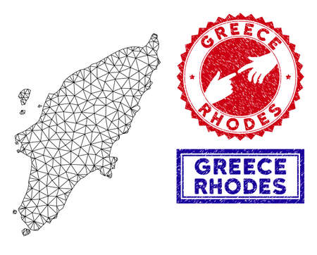 Mesh polygonal Greek Rhodes Island map and grunge seal stamps. Abstract lines and circle dots form Greek Rhodes Island map vector model. Round red stamp with connecting hands.