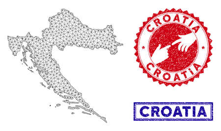 Network polygonal Croatia map and grunge seal stamps. Abstract lines and spheric points form Croatia map vector model. Round red stamp with connecting hands. Illustration