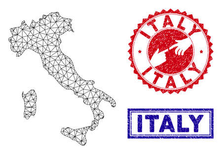 Mesh polygonal Italy map and grunge seal stamps. Abstract lines and points form Italy map vector model. Round red stamp with connecting hands. Illusztráció