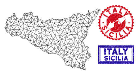 Network polygonal Sicilia map and grunge seal stamps. Abstract lines and spheric points form Sicilia map vector model. Round red stamp with connecting hands. Illusztráció