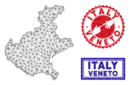 Network polygonal Veneto region map and grunge seal stamps. Abstract lines and dots form Veneto region map vector model. Round red stamp with connecting hands. Illusztráció