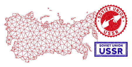 Mesh polygonal USSR map and grunge seal stamps. Abstract lines and small circles form USSR map vector model. Round red stamp with connecting hands.