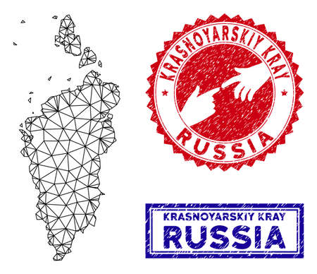 2D polygonal Krasnoyarskiy Kray map and grunge seal stamps. Abstract lines and circle dots form Krasnoyarskiy Kray map vector model. Round red stamp with connecting hands.