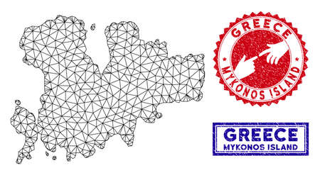Network polygonal Mykonos Island map and grunge seal stamps. Abstract lines and dots form Mykonos Island map vector model. Round red stamp with connecting hands.