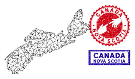Wire frame polygonal Nova Scotia Province map and grunge seal stamps. Abstract lines and small circles form Nova Scotia Province map vector model. Round red stamp with connecting hands.