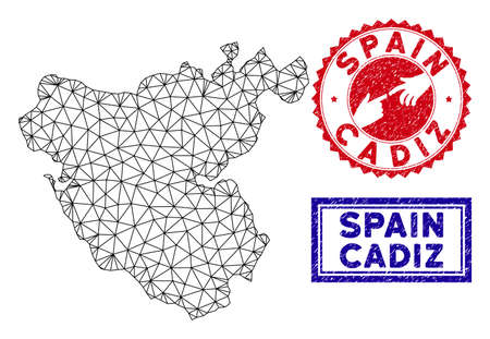 Wire frame polygonal Cadiz Province map and grunge seal stamps. Abstract lines and circle dots form Cadiz Province map vector model. Round red stamp with connecting hands.