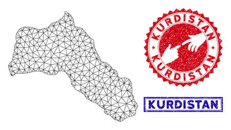 2D polygonal Kurdistan map and grunge seal stamps. Abstract lines and dots form Kurdistan map vector model. Round red stamp with connecting hands.