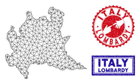 Wire frame polygonal Lombardy region map and grunge seal stamps. Abstract lines and points form Lombardy region map vector model. Round red stamp with connecting hands.