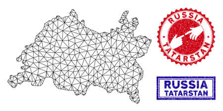 Wire frame polygonal Tatarstan map and grunge seal stamps. Abstract lines and dots form Tatarstan map vector model. Round red stamp with connecting hands.