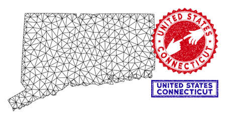 Carcass polygonal Connecticut State map and grunge seal stamps. Abstract lines and circle dots form Connecticut State map vector model. Round red stamp with connecting hands.  イラスト・ベクター素材