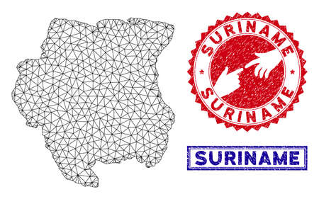Wire frame polygonal Suriname map and grunge seal stamps. Abstract lines and circle dots form Suriname map vector model. Round red stamp with connecting hands.
