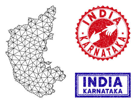 Wire frame polygonal Karnataka State map and grunge seal stamps. Abstract lines and circle dots form Karnataka State map vector model. Round red stamp with connecting hands. Illustration