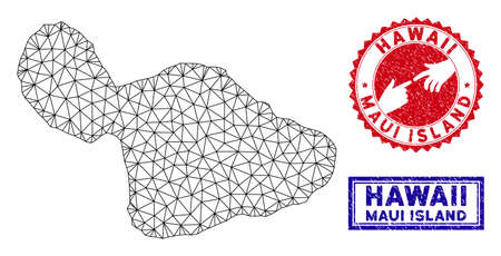 Mesh polygonal Maui Island map and grunge seal stamps. Abstract lines and spheric points form Maui Island map vector model. Round red stamp with connecting hands.