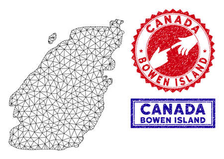 2D polygonal Bowen Island map and grunge seal stamps. Abstract lines and spheric points form Bowen Island map vector model. Round red stamp with connecting hands.