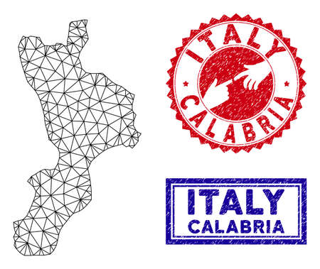 Mesh polygonal Calabria region map and grunge seal stamps. Abstract lines and points form Calabria region map vector model. Round red stamp with connecting hands.